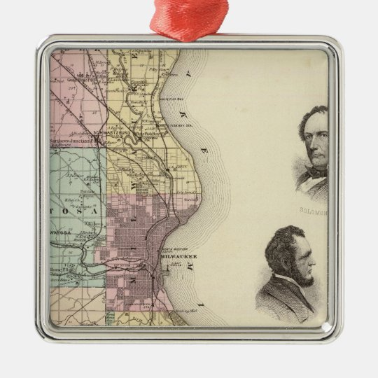 Map of Milwaukee County, State of Wisconsin Metal Ornament