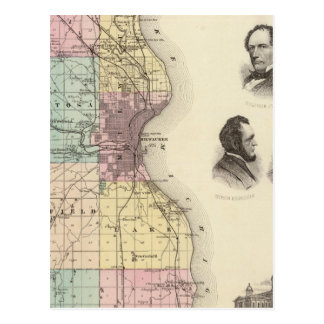 Map of Milwaukee County, State of Wisconsin Postcard