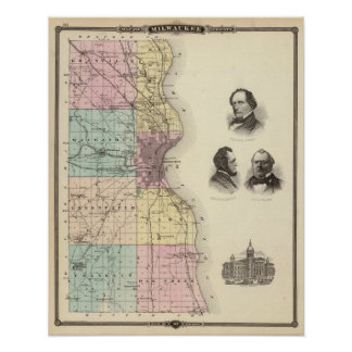 Map of Milwaukee County, State of Wisconsin Print