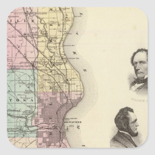 Map of Milwaukee County, State of Wisconsin Square Sticker