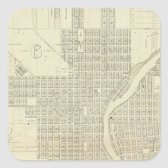 Map of Milwaukee Square Sticker