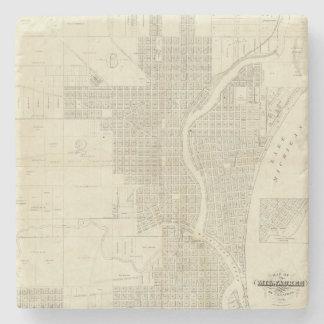 Map of Milwaukee Stone Beverage Coaster