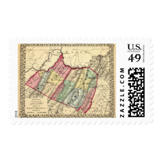 Map of Mineral, Hampshire counties Stamp