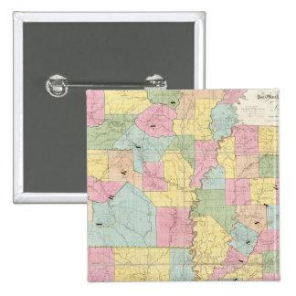 Map of Mississippi, Louisiana & Arkansas Pinback Buttons