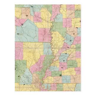 Map of Mississippi, Louisiana & Arkansas Postcard
