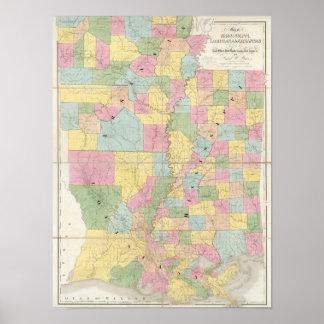 Map of Mississippi, Louisiana & Arkansas Poster