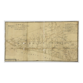 Map of Monmouth County New Jersey (1781) Poster