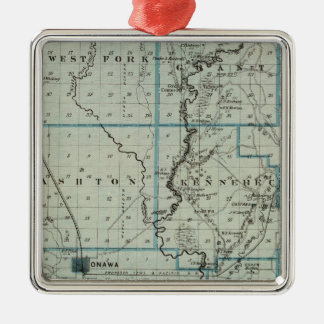 Map of Monona County, State of Iowa 2 Square Metal Christmas Ornament