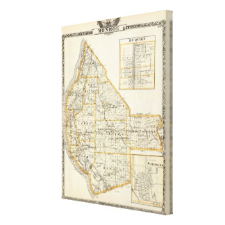 Map of Monroe County, DuQuoin and Waterloo Canvas Print