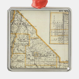Map of Monroe County, DuQuoin and Waterloo Metal Ornament