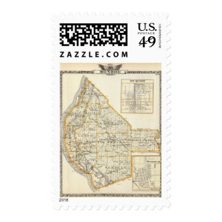 Map of Monroe County, DuQuoin and Waterloo Postage