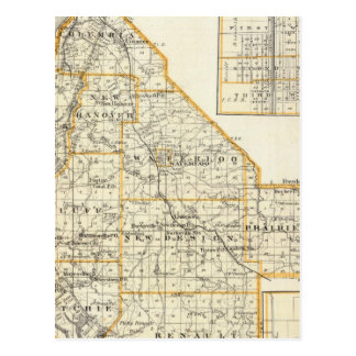 Map of Monroe County, DuQuoin and Waterloo Postcard
