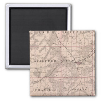 Map of Monroe County, State of Iowa 2 Inch Square Magnet