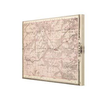 Map of Monroe County, State of Iowa Canvas Print