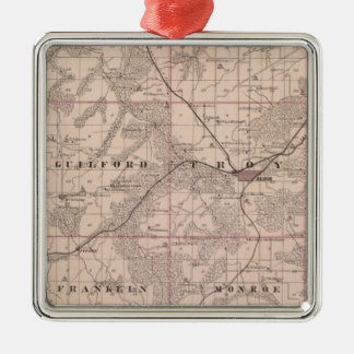 Map of Monroe County, State of Iowa Metal Ornament