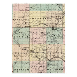 Map of Monroe County, State of Wisconsin Postcard