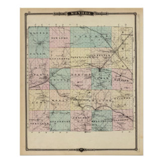 Map of Monroe County, State of Wisconsin Poster
