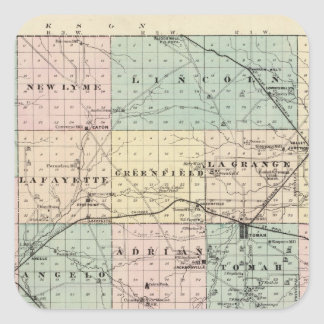 Map of Monroe County, State of Wisconsin Square Sticker