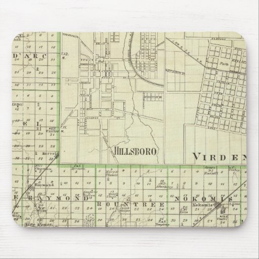 Map of Montgomery County, Hillsboro and Virden Mousepads