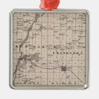 Map of Montgomery County, State of Iowa Square Metal Christmas Ornament