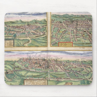 Map of Montpellier, Tours, and Poitiers, from 'Civ Mouse Pad