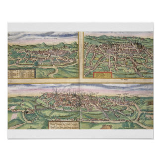 Map of Montpellier, Tours, and Poitiers, from 'Civ Poster