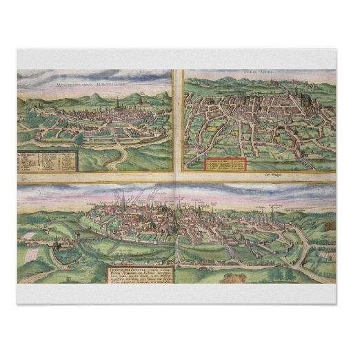 Map of Montpellier, Tours, and Poitiers, from 'Civ Print