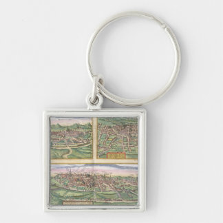 Map of Montpellier, Tours, and Poitiers, from 'Civ Silver-Colored Square Keychain