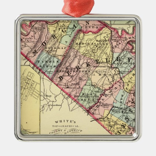 Map of Morgan, Berkeley, and Jefferson counties Metal Ornament