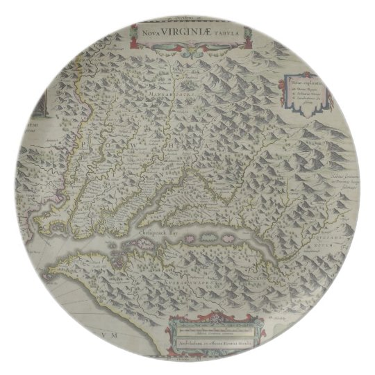 Map of Mountains in Virginia, USA Plate