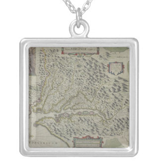 Map of Mountains in Virginia, USA Silver Plated Necklace