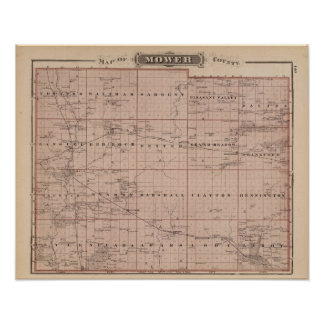 Map of Mower County, Minnesota Poster