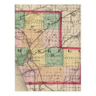 Map of Muskegon County, Michigan Postcard