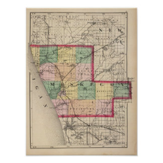 Map of Muskegon County, Michigan Poster