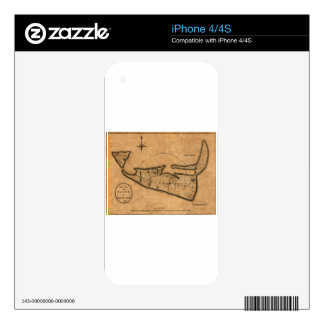 Map of Nantucket 1782 Decal For iPhone 4