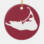 Map of Nantucket White and Cranberry Red Double-Sided Ceramic Round Christmas Ornament