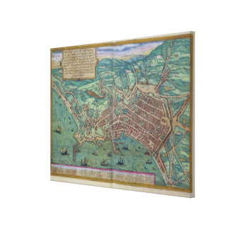 Map of Naples, from 'Civitates Orbis Terrarum' by Canvas Print