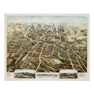 Map of New Britain, Connecticut from 1875 Poster