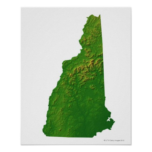 Map of New Hampshire Poster