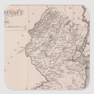 Map of New Jersey, 1812 Square Sticker