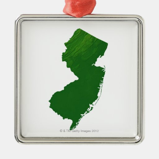 Map of New Jersey 2 Square Metal Christmas Ornament