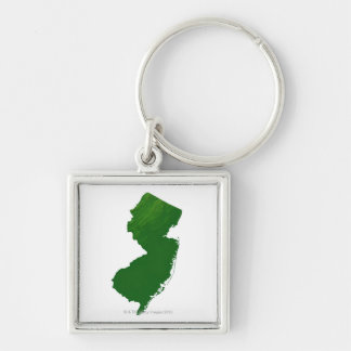 Map of New Jersey 2 Silver-Colored Square Keychain