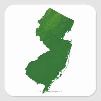 Map of New Jersey 2 Square Sticker