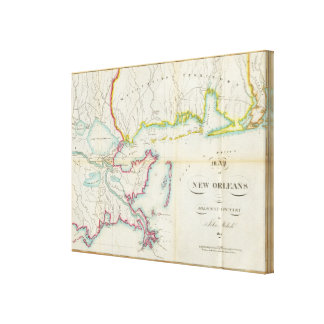 Map of New Orleans and Adjacent Country Gallery Wrap Canvas