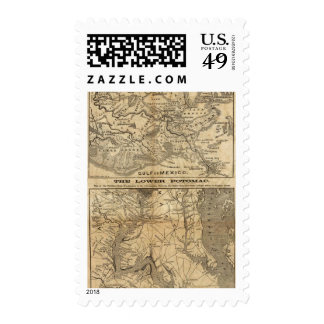 Map of New Orleans and Surrounding Country Postage Stamps