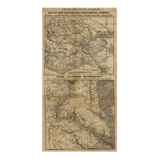 Map of New Orleans and Surrounding Country Poster