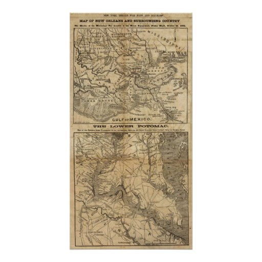 Map of New Orleans and Surrounding Country Posters