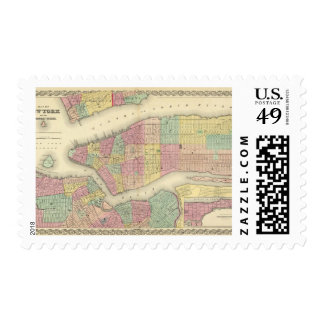 Map Of New York And The Adjacent Cities Postage Stamp