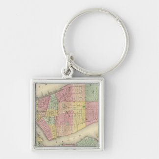 Map Of New York And The Adjacent Cities Silver-Colored Square Keychain