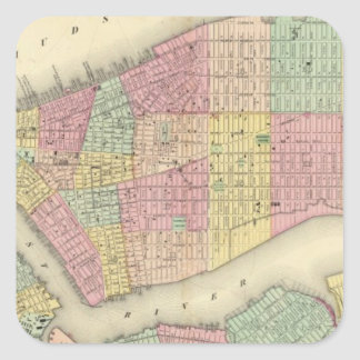 Map Of New York And The Adjacent Cities Square Sticker